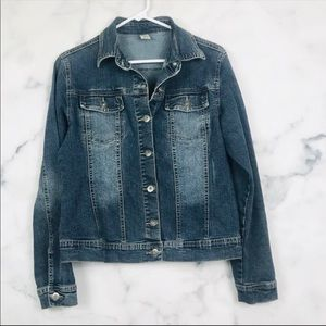 PrAna Distressed Denim Jacket